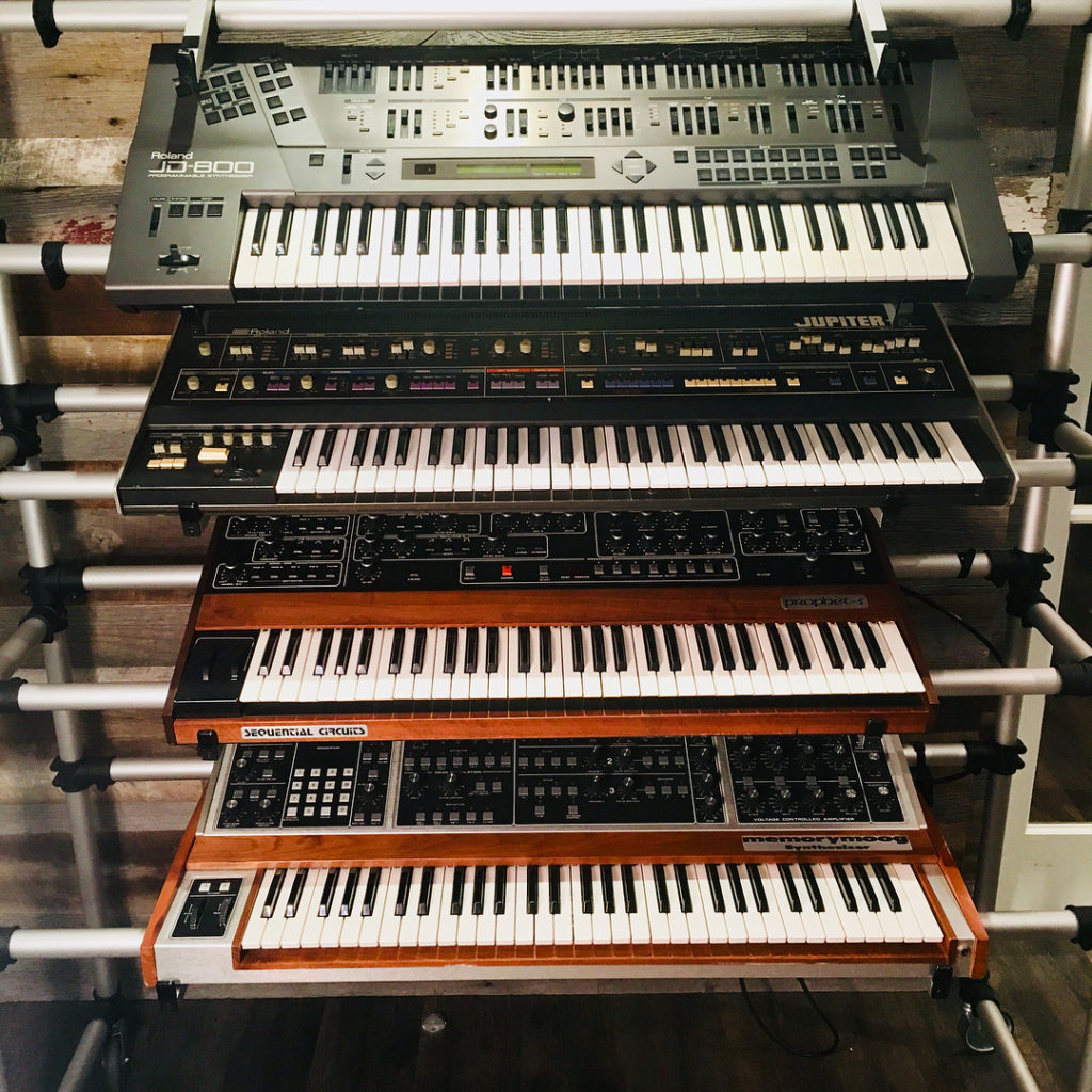 Roland JD800 Jupiter Sequential Circuits Prophet 5 Moog Memorymoog